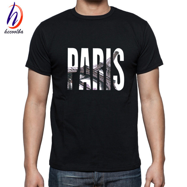 Men Summer Short Sleeve Paris Printed T-shirts - Tees and Shirts